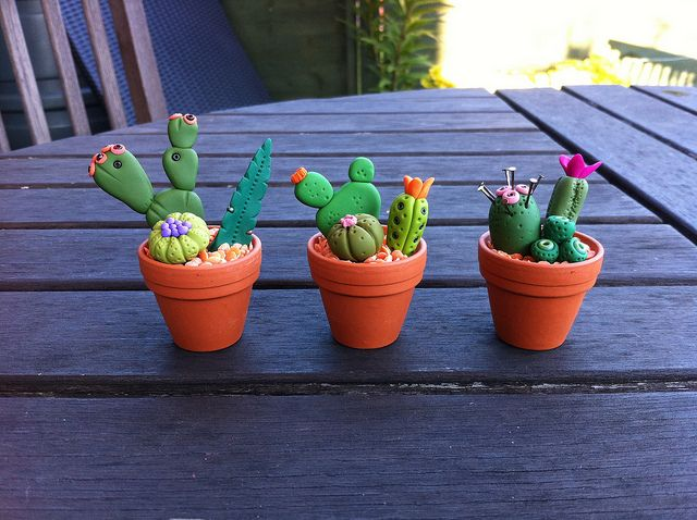 Paula Pindroh inspired cactus pots by MichelleShrimpton, via Flickr