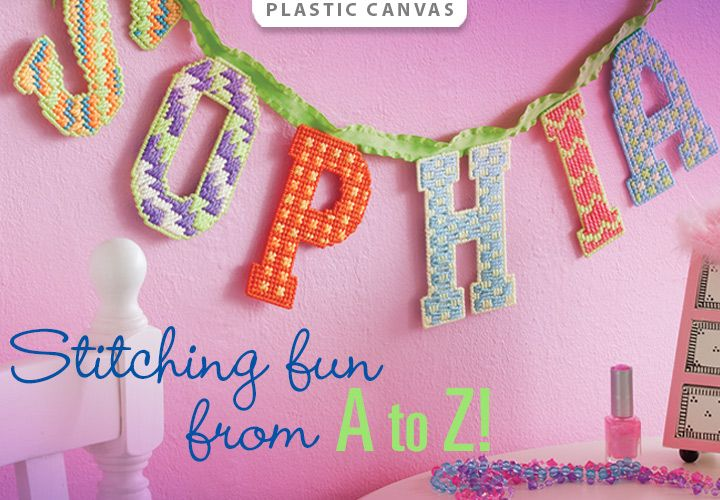 Designer Alphabet Plastic Canvas Patterns -- Stitching fun from A to Z! Order here: http://www.anniescatalog.com/detail.html?code=888088