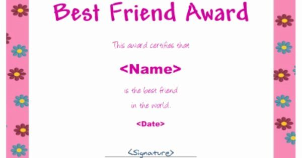 Best Friend Award Certificate Awesome Best Friend Award For Girls Award Certificate Gift Certificate Template Best Friends