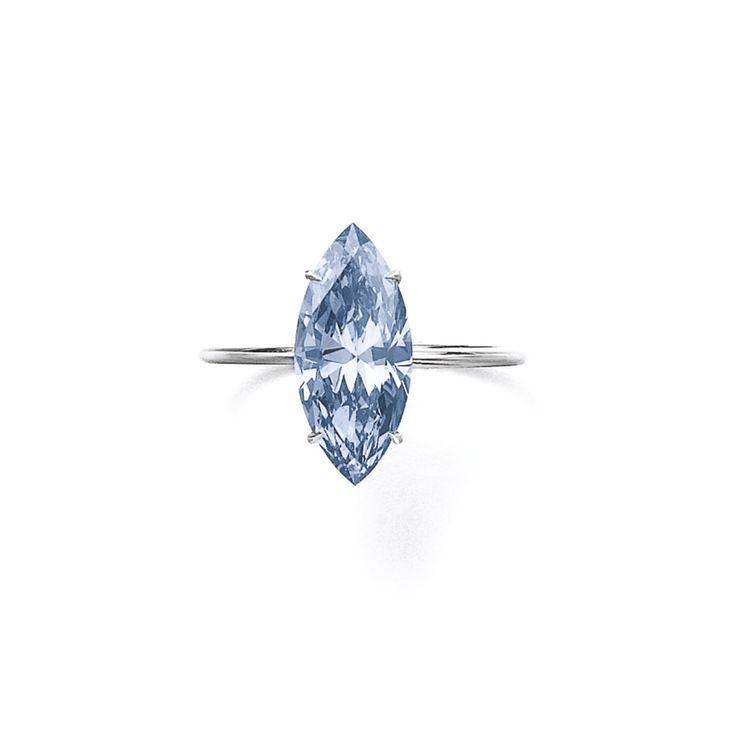 2.31 carats marquise-shaped fancy vivid blue diamond ring