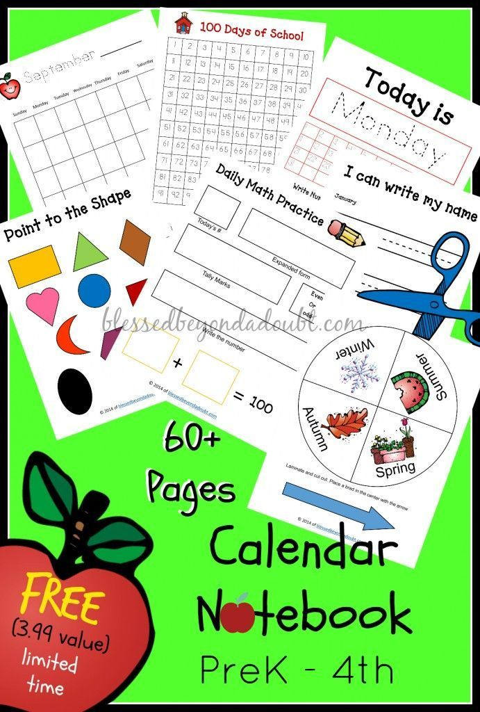Kindergarten Daily Calendar Notebook : Free homeschool calendar notebook prek th value