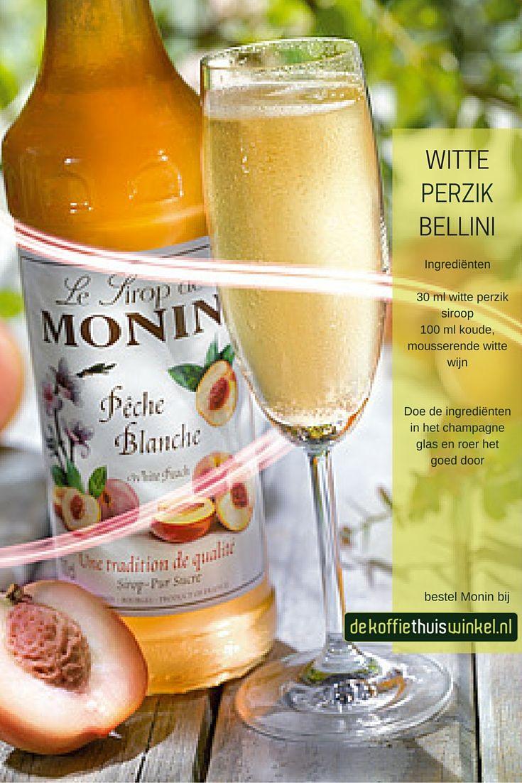 WITTE PERZIK BELLINI | RECEPT  Wij hebben een zomer gevoel....een mousserend wit wijntje met witte perziksiroop in de zon...mmmm!