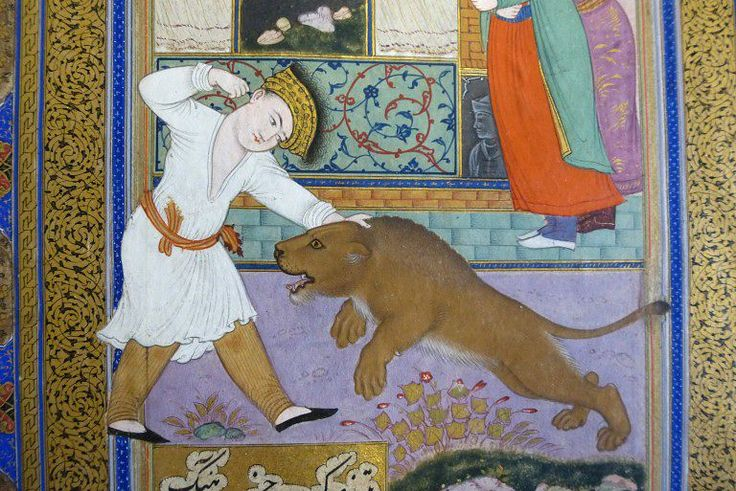 Khusraw Kills a Lion with his Bare Hands | Riza 'Abbasi | V&A Search the Collections