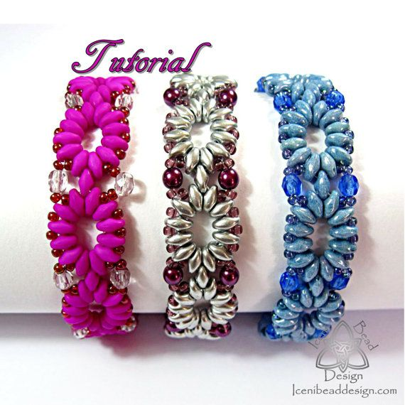 Pdf Tutorial Cadena Bracelet with Super Duo Beads, Beading Pattern
