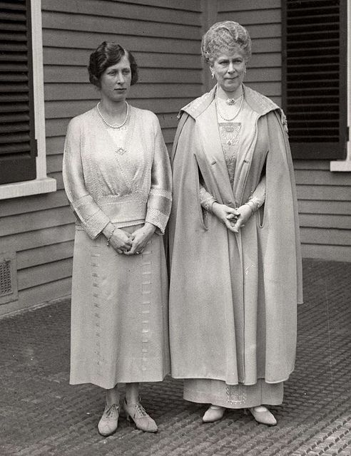 Queen Mary with her daughter Mary, the Princess Royal. After the Great War Queen Mary thought to try a shorter skirt length but the King was not having it. 'It is not only important to be permanent',he proclaimed,'it is important to look permanent'.