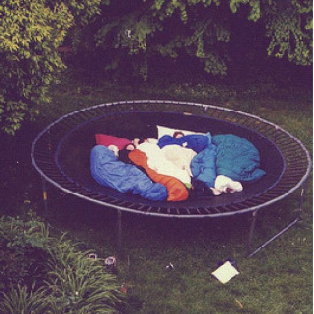 Spend the night on a trampoline! Jump while being in the sleeping bag