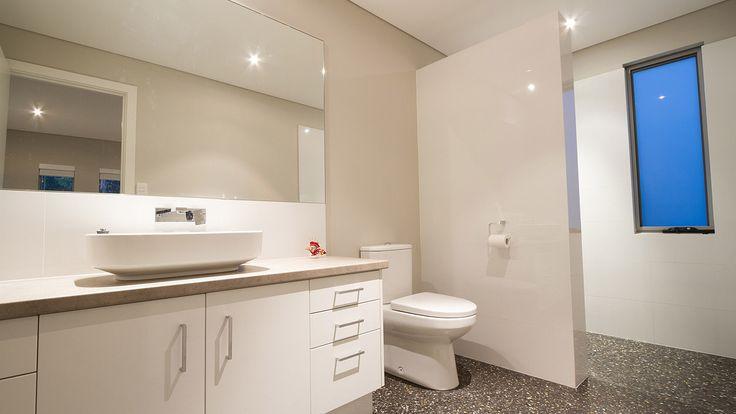 Modern Bathroom Design, Salt and Pepper Polished Concrete bathroom floor, whote bathroom