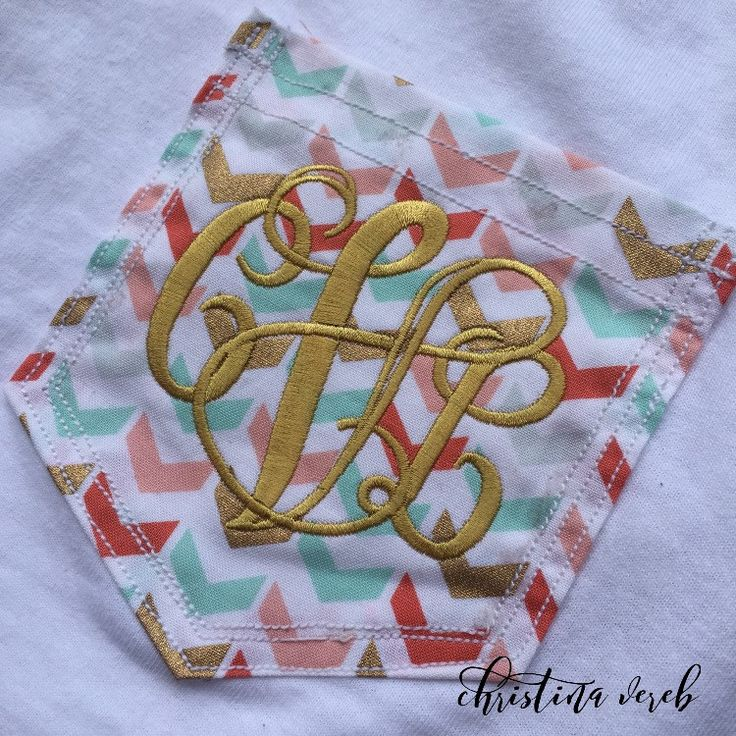 White tshirt with a chevron pocket over the left chest and your personal monogram embroidered in gold! Simple and elegant. Excellent product to give as a gift or to get for yourself. Adds a touch of p