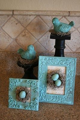 Great use for old frames.  Add some paint, moss and an egg, and voila...spring decor!  Used frames run on average between $1-$2 at Thrift Town.