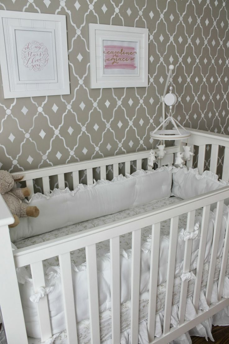 43 best stenciled nurseries images on pinterest nurseries wall stenciled feature wall in a cute nursery via carolina charm amipublicfo Images
