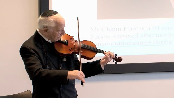 Chaim Ferster from Cheetham Hill is 94 years old. He survived eight different concentration camps and came to Greater Manchester Police's headquarters  to talk about his life and mark Holocaust Memorial Day. Here he plays his violin, which he took up playing again when he was 92. He had not played since before the war.  The music he is playing was the piece of music he heard the day he was freed. www.gmp.police