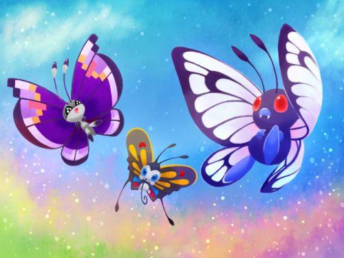 Butterfree, vivillon and beautyfly