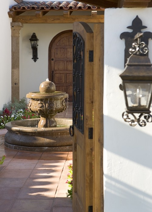 hacienda courtyard with fountain: