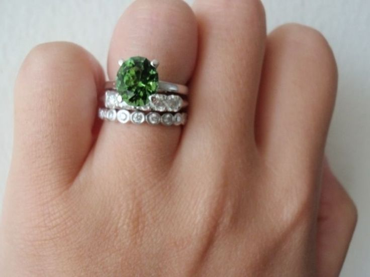 Top engagement rings with colored gemstones - green