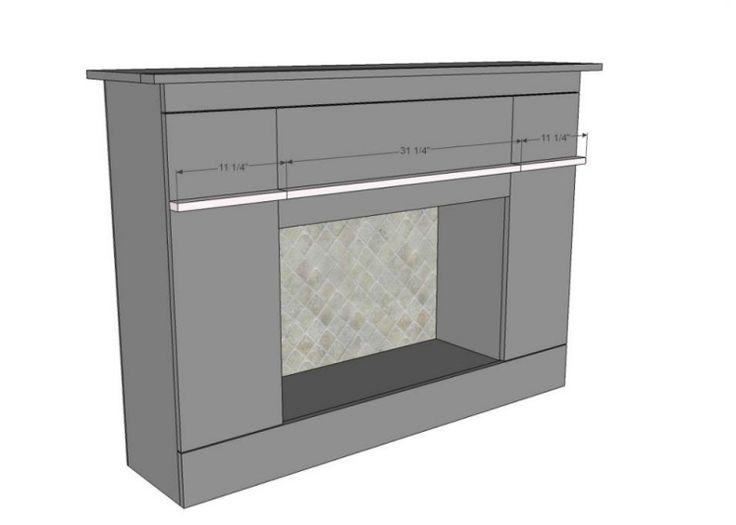manteau de cheminée artisanal et plan de la construction en détail