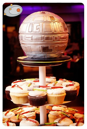 Death Star Cake! With Lightsaber Cupcakes!!!!