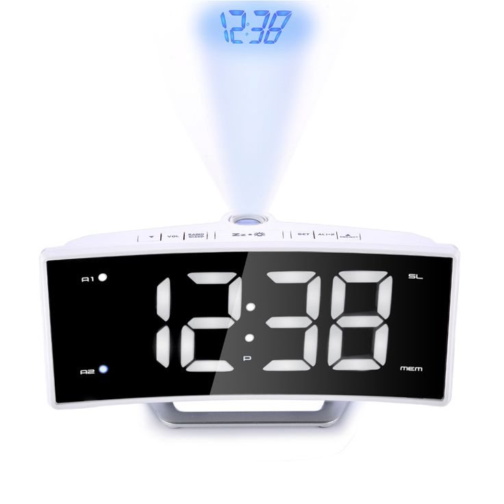 White Shell Light Radio Projection Alarm Clock LED Mirror Electronic LumiNova Clock Charging Temperature Desk Watch Gadgets