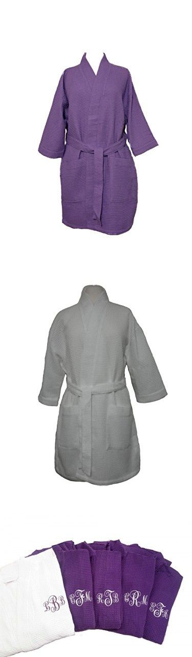 Set of Cotton Waffle Bathrobes Purple White Bridesmaid Robes Monogrammed Gifts