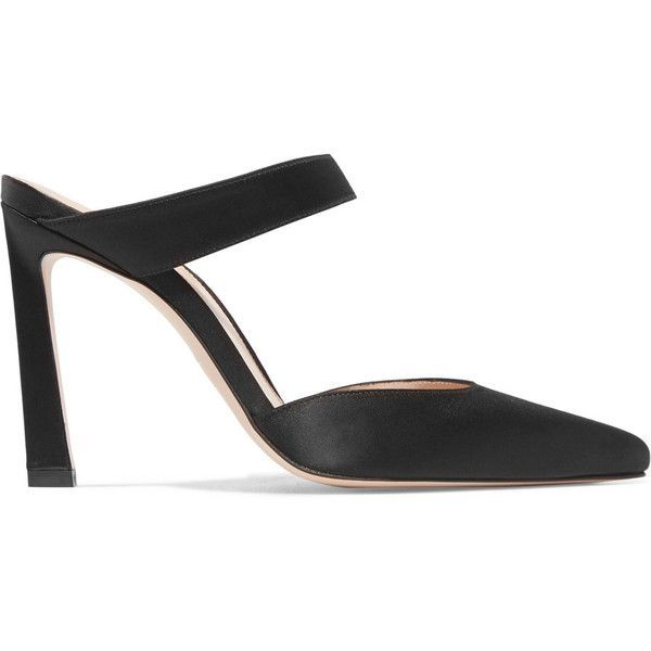 Stuart Weitzman Event satin mules ($475) ❤ liked on Polyvore featuring shoes, black, high heeled footwear, black high heel mules, black shoes, stiletto high heel shoes and black slip on shoes