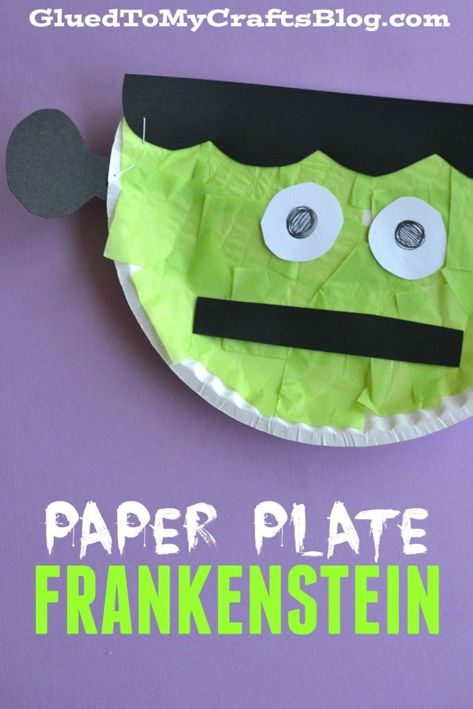 Paper Plate Frankenstein Kids Craft. Use paper plates, glue, tissue paper, and a stapler to make freaky Frankenstein crafts with your kids for Halloween.