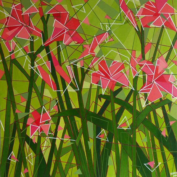 ACRYLIC PAINTING 04 Red Pink Flowers Modern Art by Magdalena Purol #acryl #painting #flowers #geometric #abstract #modern #art #meadow