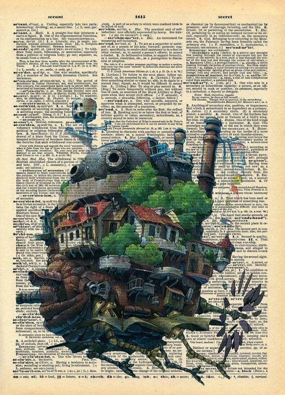 Howls Moving Castle Original Studio Ghibli Print on by AvantPrint, $7.00