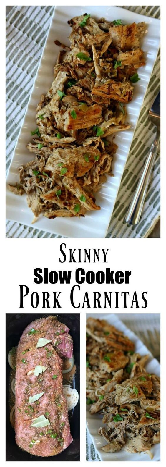 Skinny Slow Cooker Pork Carnitas: lean pork cooked in your slow cooker with onion, garlic, jalapeno, and lots of spices. Then the pork is crisped up on the stove top in a little olive oil creating maximum flavor for tacos, salads, burritos, nachos and enchiladas.