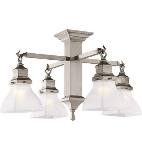 A Compact Mission Style Chandelier In Brushed Nickel Versatile