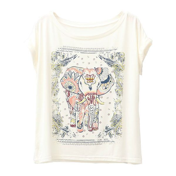Vintage Modal Batwing Sleeves T-shirt with Floral and Elephant Print (€20) ❤ liked on Polyvore featuring tops, t-shirts, shirts, chicnova, loose fitting t shirts, loose t shirt, floral print t shirt, vintage floral shirt und scoop neck tee