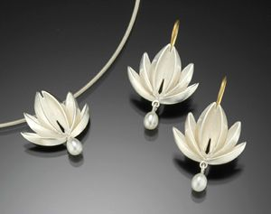Lotus With Pearl Drop Pendant & Earrings: Silver: Thea Izzi: Silver & Pearl Pendant & Earrings | Artful Home