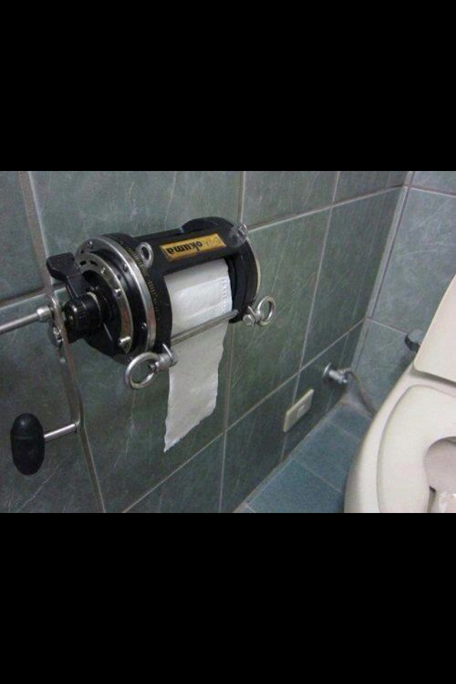 The coolest toilet paper roll ever bathroom ideas for for Fishing reel toilet paper holder