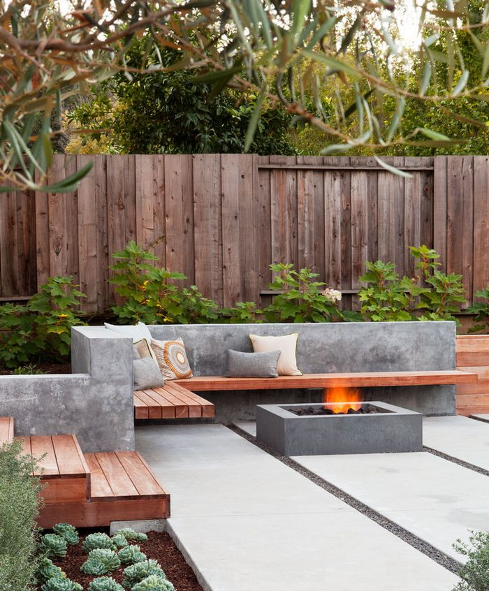 outdoor terrace with concrete fire pit