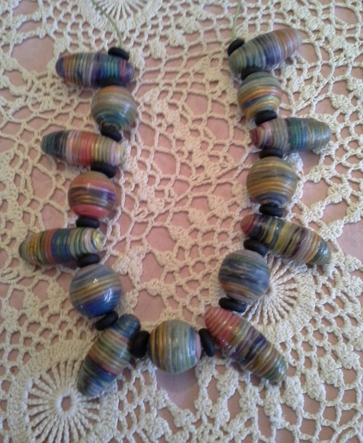 Extruder necklace made with polymer clay.