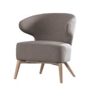 Klapp - hvilestol i grå-brun stof, egeben
