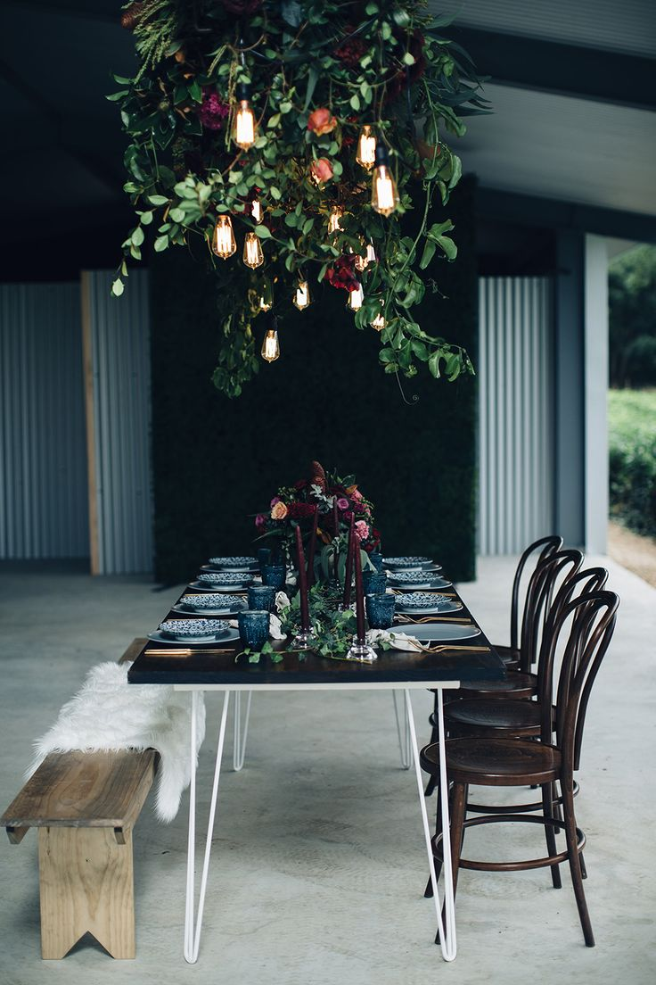 wedding reception tables - photo by Figtree Pictures http://ruffledblog.com/moody-industrial-wedding-inspiration