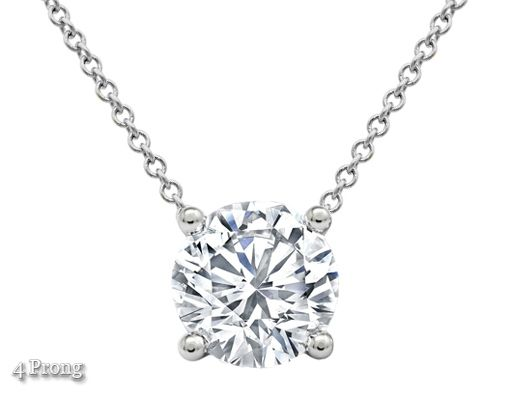 The round diamond, set into a bezel or prong setting, will stand out as an ageless and everlasting item of jewelry. This floating diamond solitaire pendant is available in either 16 or 18 inches. No matter what reason you purchase this gift, you'll always remember the smile on her face once she opens the jewelry box and sees this solitaire pendant.