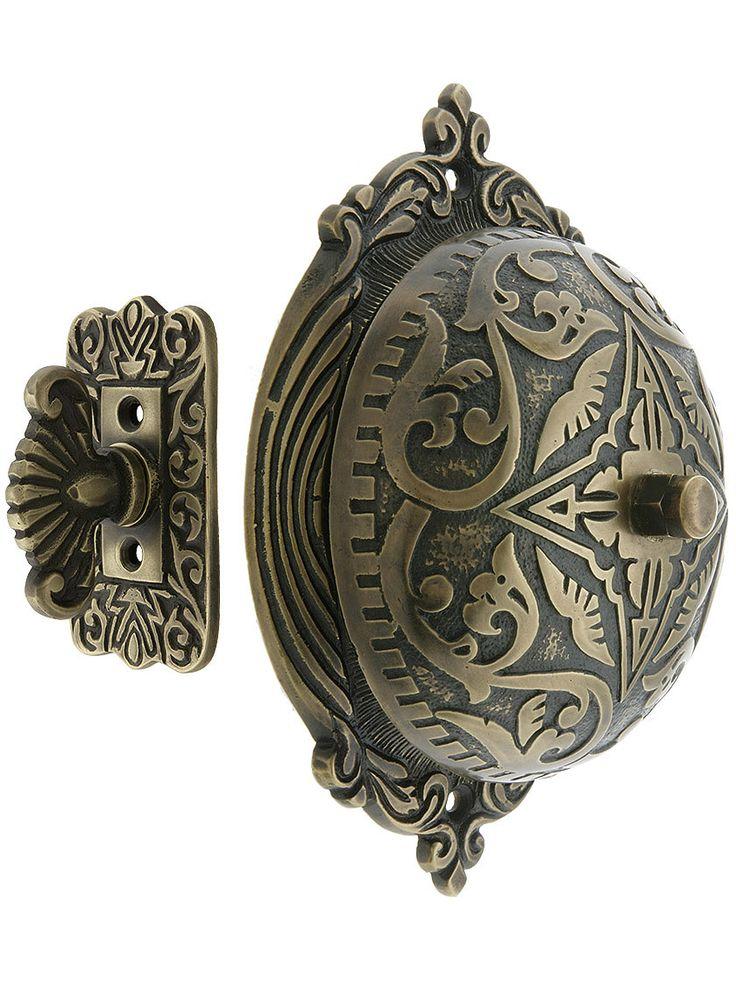 Mechanical Twist Doorbell. Eastlake Style Twist Door Bell In Solid Brass
