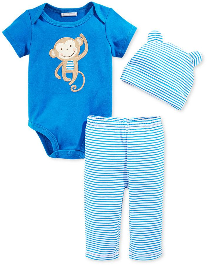First Impressions Baby Boys' 3-Piece Monkey Bodysuit, Striped Hat & Pants Set
