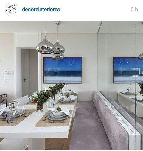 Banco Estofado Para Sala De Jantar ~ Mesa de jantar com banco estofado  Home  Pinterest  Mesas e
