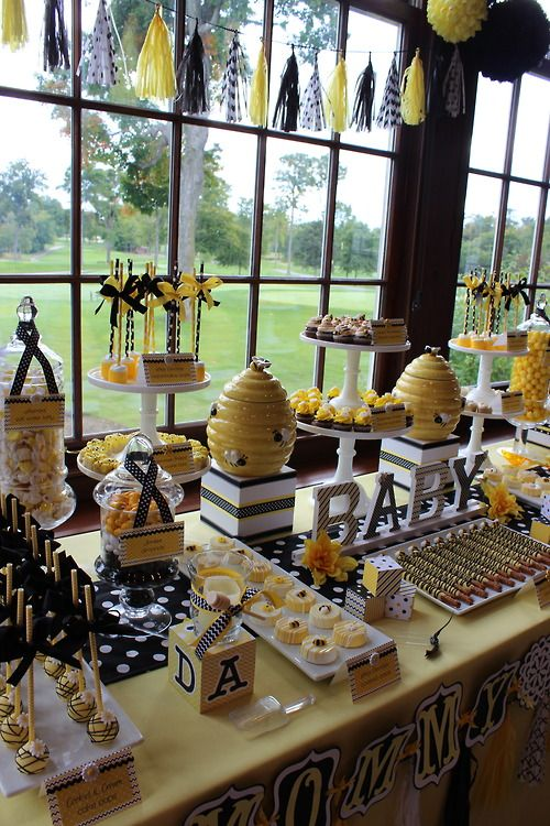 "Sweet Simplicity Bakery: Bumblebee Baby Shower ""Mommy To Bee"" Themed Dessert, Candy & Chocolate Display Buffet Table"