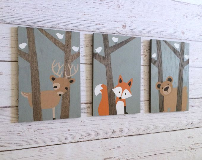 This hand painted set of three woodland animals on wood will make the perfect addition to your little ones woodland nursery or forest friends nursery! This set can be customized however youd like. Please feel free to contact me with any questions or requests. Woodland Nursery Art - Set of 3 Each painting measures 8x 12, 1/2 thick on stained oak. The trees are left unpainted, showcasing the natural grain and texture of the wood, complimenting the woodland animals nursery theme perfectly! One…