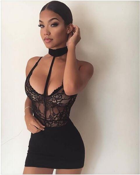 Black Halter Neck Strappy Lace Bodysuit