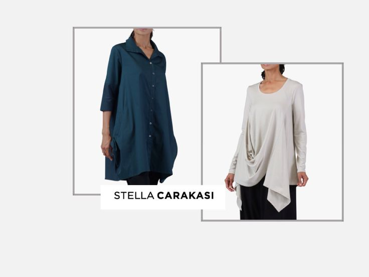 August 2015 Stella Carakasi's architectural styling is so flattering for many body shapes.