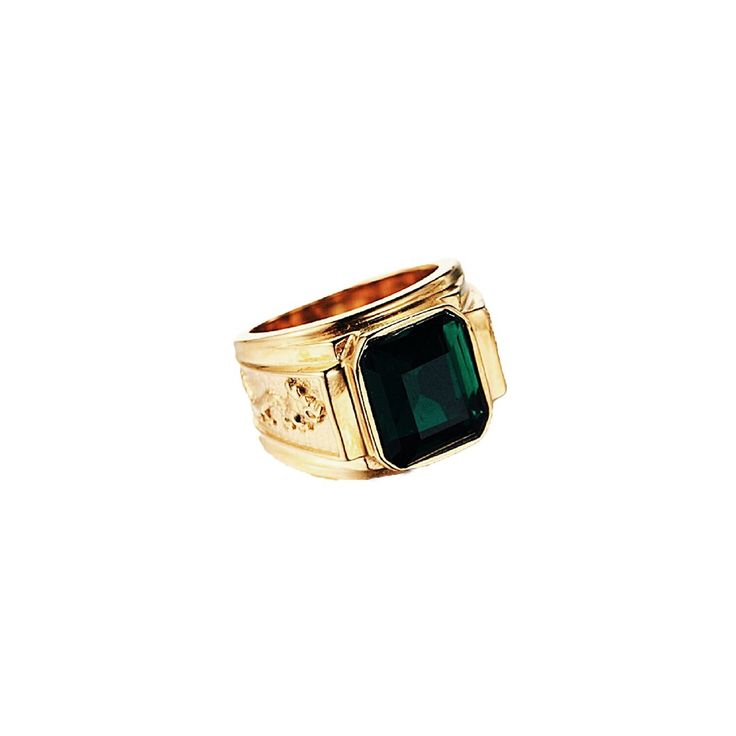 gold plated signet ring with emerald stone