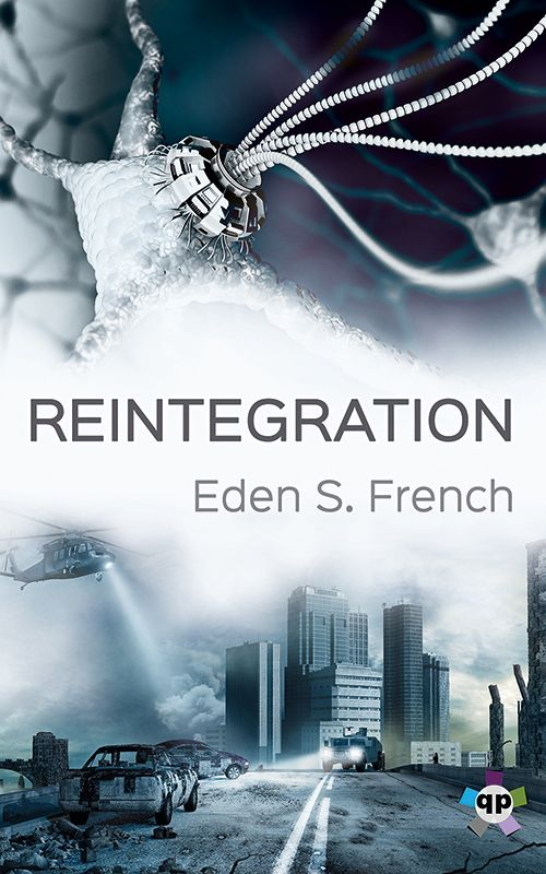 """""""Reintegration"""" by Eden S. French / Streetwise cyborg Lexi Vale brokers deals for gang lords in the anarchic city of Foundation. Her mind-reading implant gives her a crucial edge—but it also makes her brain a hot commodity.  When she's targeted by an augmented hunter, Lexi joins a group of rebels: a murderous vigilante, a daredevil smuggler, a drug-addled surgeon, and a revolutionary whose shared past with Lexi endangers them all. (Pulication Date: Nov 2017)"""