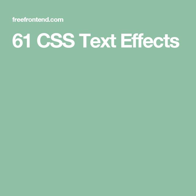 61 CSS Text Effects