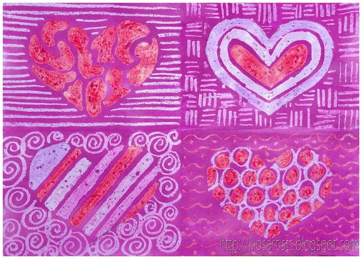 Fold the sheet of paper into quarters. Cut a heart out of a piece in the hearts: Trace this heart four times with a pencil. Draw patterns in the hearts with crayons: stripes, circles, zigzag lines etc. Draw different patterns around the hearts.    Paint the whole sheet with liquid watercolour. The crayon will resist the ink.