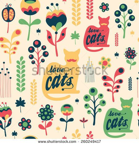 Colorful floral seamless pattern with love cats. #floralpattern #flatdesign #vectorpattern #patterndesign #seamlesspattern