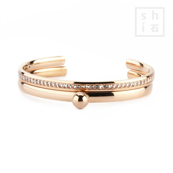 MelanO Side Bracelet met Twisted Bangle en rosé gouden bolletjes zetting