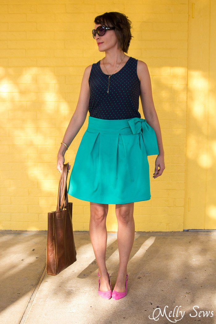 Simple and fun at the same time - DIY Pleated Wrap Skirt - Sew a Pleated Mini Skirt with this easy tutorial - no buttons or zippers needed! - Melly Sews